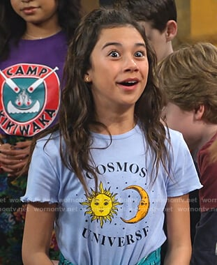 Gwen's blue Cosmos Universe print tee on Bunkd