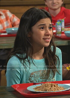 Gwen's green elephant print top on Bunkd