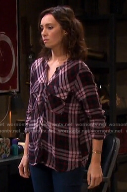 Gwen's pink plaid button down shirt on Days of our Lives