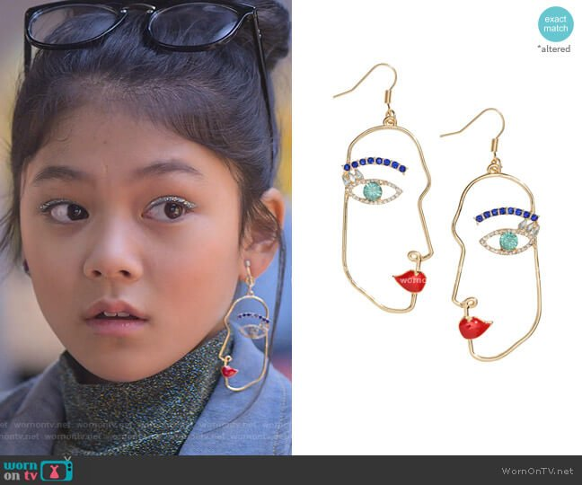 Earrings with Rhinestones by H&M worn by Claudia Kishi (Momona Tamada) on The Baby-Sitters Club