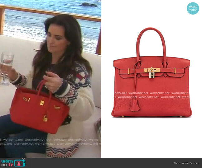 Birkin 30 Tote Bag by Hermes worn by Kyle Richards  on The Real Housewives of Beverly Hills