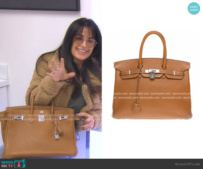 Birkin 35 Tote Bag with Silver Buckle by Hermes worn by Kyle Richards  on The Real Housewives of Beverly Hills