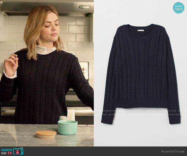 H&M Cable Knit Sweater worn by Lucy Neal (Lucy Hale) on A Nice Girl Like You