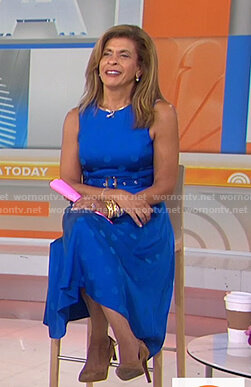 Hoda's blue polka dot belted dress on Today