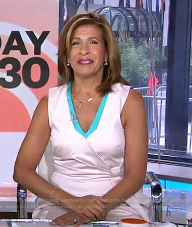 Hoda's white and green wrap dress on Today