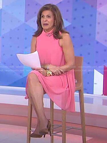 Hoda's pink mock neck dress on Today