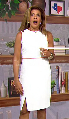 Hoda's white dress with orange contrast trim on Today