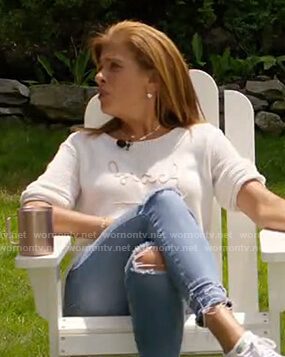 Hoda's white beach knit sweater on Today
