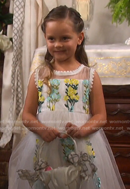 Holly's white floral embroidered tulle dress on Days of our Lives