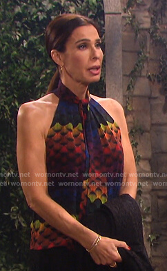 Hope's rainbow tie neck halter top on Days of our Lives