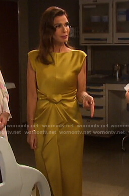 Hope's yellow tie front satin dress on Days of our Lives