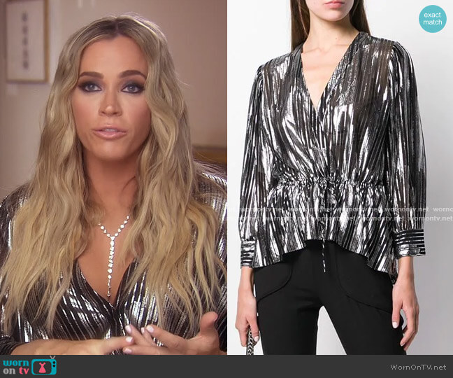 Darla Blouse by Iro worn by Teddi Mellencamp Arroyave  on The Real Housewives of Beverly Hills