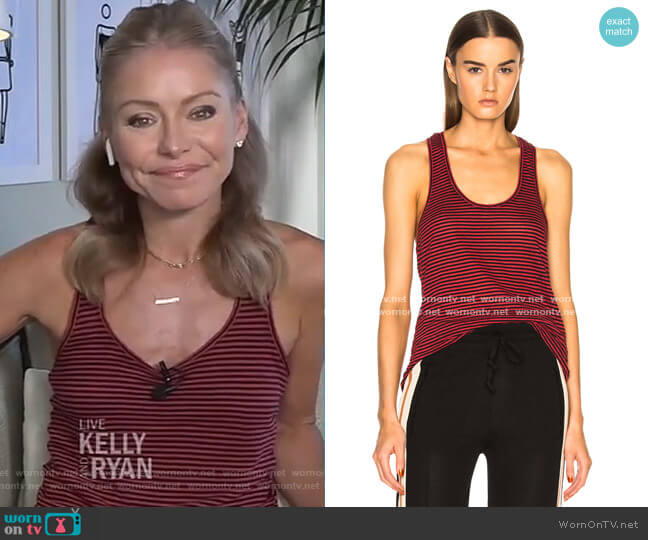 Avien Striped Linen Tank by Isabel Marant worn by Kelly Ripa  on Live with Kelly & Ryan