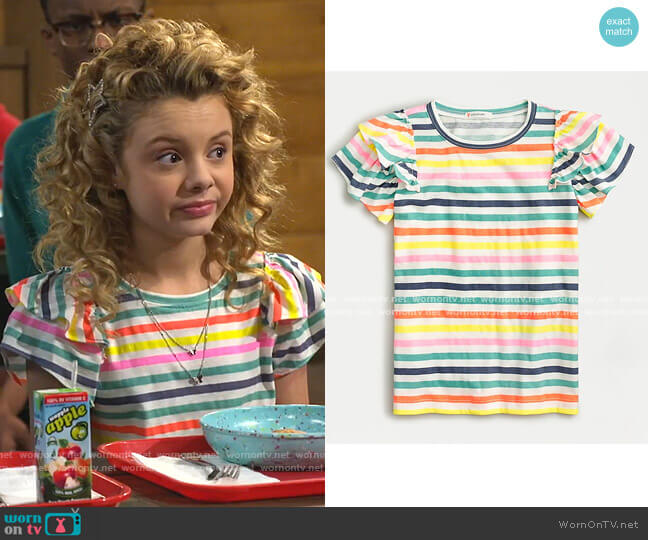 Ruffle-Sleeve T-shirt in Stripe by J. Crew worn by Destiny Baker (Mallory James Mahoney) on Bunkd