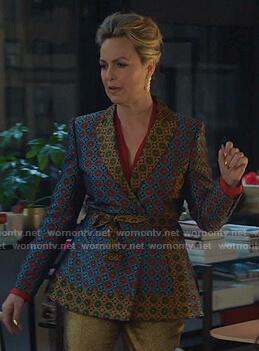 Jacqueline's geometric wrap jacket on The Bold Type