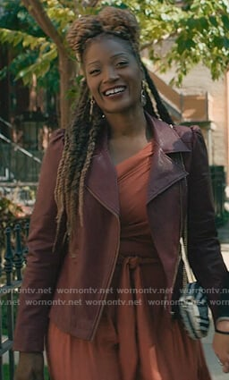 Jada's burgundy leather moto jacket on The Chi