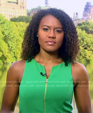 Janai's green sleeveless dress on Good Morning America