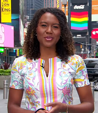 Janai's white floral zip front dress on Good Morning America