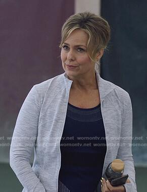 Jacqueline's grey zip jacket on The Bold Type
