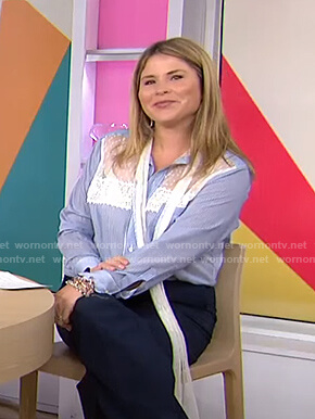 Jenna's blue striped lace panel blouse on Today