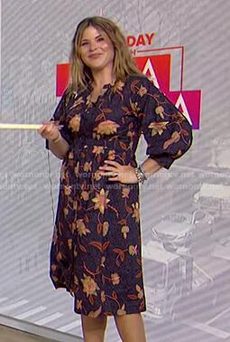 Jenna's navy floral shirtdress on Today