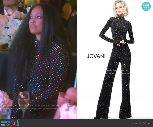 Beaded High Neck Long Sleeve Jumpsuit by Jovani worn by Garcelle Beauvais  on The Real Housewives of Beverly Hills