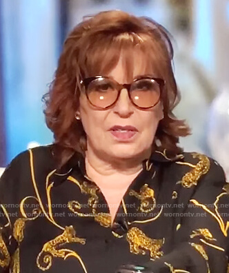 Joy's black tiger print blouse on The View