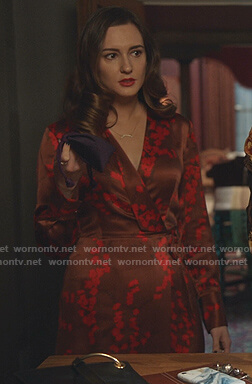Joy's brown floral wrap dress on Good Witch