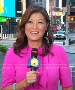Juju Chang's pink tie neck dress on Good Morning America