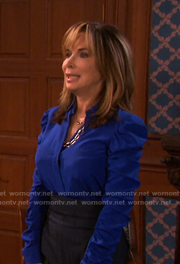 Kate's blue ruched sleeve blouse on Days of our Lives