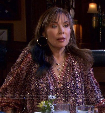 Kate's metallic floral blouse on Days of our Lives