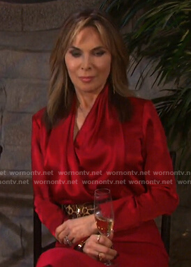 Wornontv Kate S Red Satin Wrap Blouse On Days Of Our Lives Lauren Koslow Clothes And Wardrobe From Tv Lauren alice koslow born march 9 1953 is an american actress best known for her longrunning portrayal of kate roberts on the nbc dramatic serial days of. kate s red satin wrap blouse on days of