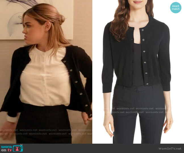 Kate Spade Jewel Button Crop Cardigan worn by Lucy Neal (Lucy Hale) on A Nice Girl Like You (2020)