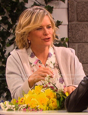 Kayla's white floral blouse on Days of our Lives