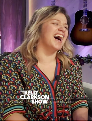 Kelly's mixed print wrap dress on The Kelly Clarkson Show
