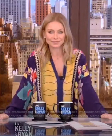 Kelly's floral print caftan on Live with Kelly and Ryan