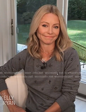 Kelly's grey embellished sweatshirt on Live with Kelly and Ryan