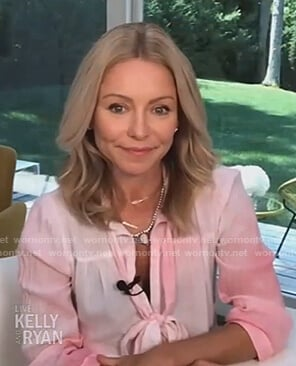 Kelly's pink tie dye tie neck dress on Live with Kelly and Ryan
