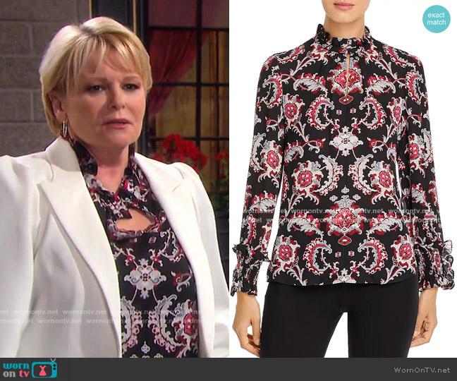 Levi Paisley Silk Blouse by Kobi Halperin worn by Bonnie Lockhart (Judi Evans) on Days of our Lives