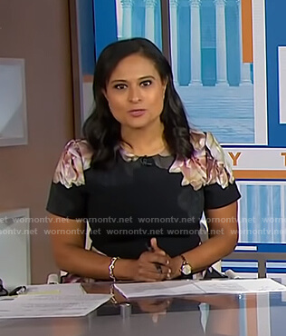 Kristen Welker's black floral short sleeve dress on Today