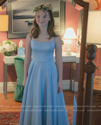 Kristy's blue satin off shoulder gown on The Baby-Sitters Club