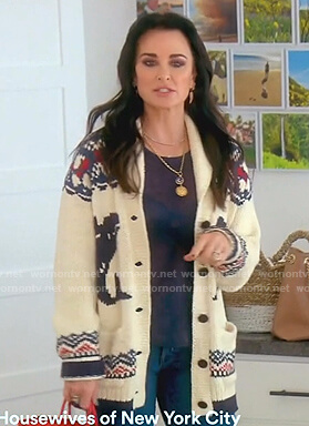 Kyle's white anchor print cardigan on The Real Housewives of Beverly Hills