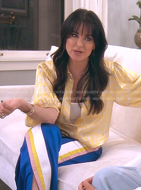Kyle's yellow floral blouse and striped pants on The Real Housewives of Beverly Hills