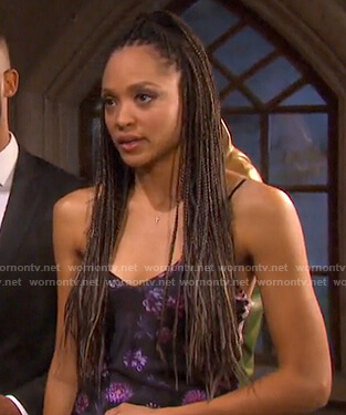 Lani's black floral slip dress on Days of our Lives