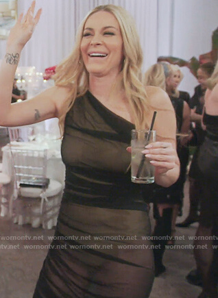 Leah's black sheer one shoulder dress on The Real Housewives of New York City