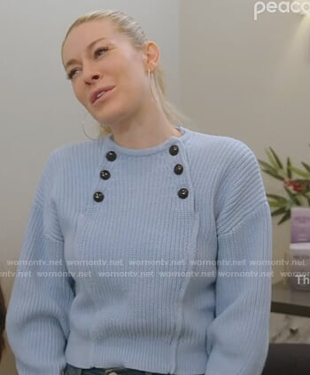 Leah's blue button detail sweater on The Real Housewives of New York City