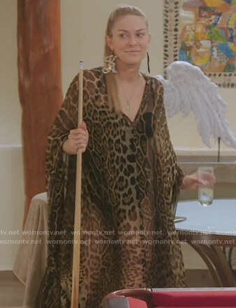 Leah's leopard print caftan dress on The Real Housewives of New York City