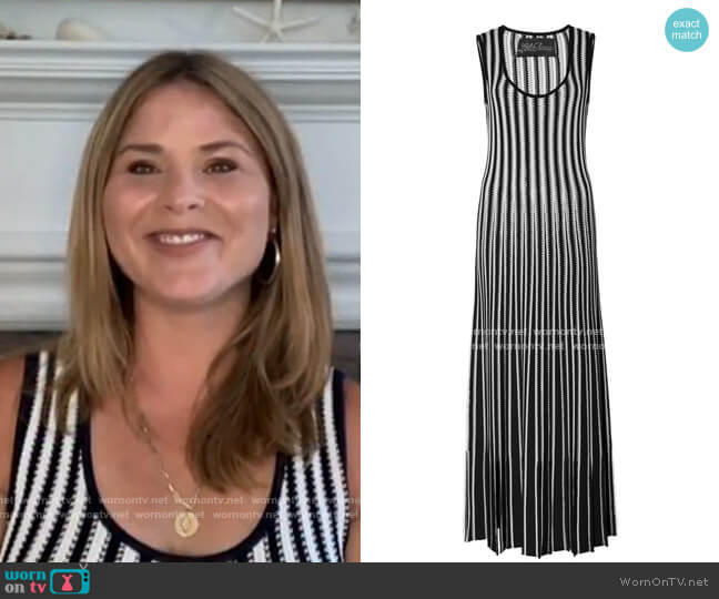Tasseled Striped Crochet-Knit Midi Dress by Lela Rose worn by Jenna Bush Hager  on Today