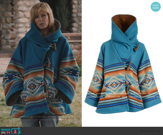 Pagosa Springs Classic Cloak by Lindsey Thornburg worn by Beth Dutton (Kelly Reilly) on Yellowstone