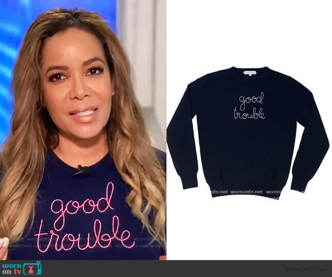 Good Trouble Sweater by Lingua Franca worn by Sunny Hostin  on The View